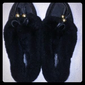 Coach fiona loafers fur lined black 6 1/2 b